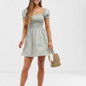 Square Neck Mini Smock Dress